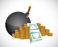 Bomb and money profits illustration design Stock Photos