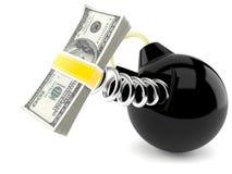 Bomb with money. On white background Stock Image
