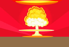 Bomb Nuclear Explosion Design Flat Stock Photos