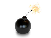 Bomb in old style with a burning wick. On white background. High resolution 3D image Royalty Free Stock Photo
