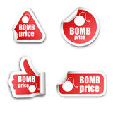 Bomb price stickers Royalty Free Stock Photo