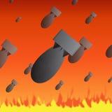 Bomb Rain Season. Bombs falling from the sky on a fiery season of fire Royalty Free Stock Photo