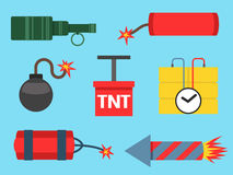 Bomb and rockets vector illustration weapon explosion Royalty Free Stock Photo