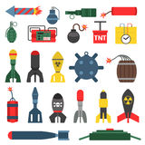 Bomb and rockets vector set. Stock Photography