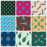 Bomb and rockets vector set seamless pattern background Royalty Free Stock Images