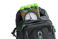 Bomb in the backpack. Timed bomb in backpack on white background isolated Stock Image