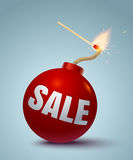 Bomb for sale. Vector illustration of a red bomb and match. Bomb for sale and shopping Royalty Free Stock Image