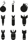 Bomb. Set of black bomb icons Stock Images