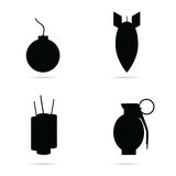 Bomb set icon in black color illustration Royalty Free Stock Images