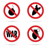 Bomb set red sign in black color illustration Royalty Free Stock Photos
