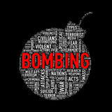 Bomb shape wordcloud tag bombing. Illustration of bomb shape tags wordcloud of concept bombing Stock Photo