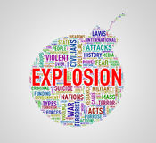 Bomb shape wordcloud tag explosion Stock Photography