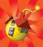 Bomb shaped house. House vector draw in bomb shape stock illustration