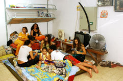 Bomb shelters - Bunkers. NAHARIA, ISR - JULY 21:Israeli people in bomb shelters during 2006 Lebanon war on July 21, 2006.The State of Israel requires all Stock Photo
