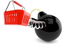 Bomb with shopping basket Royalty Free Stock Images