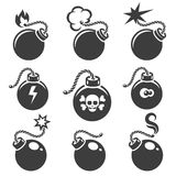 Bomb signs or bomb symbols. Bomb icon with skull and crossbones. Vector illustration Stock Photo