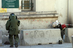 Bomb Squad. Examines suspicious package in Taksim Square,Istanbul,Turkey Stock Image