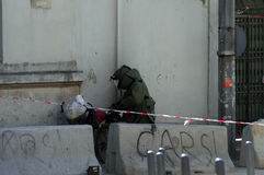 Bomb Squad. Examines suspicious package in Taksim Square,Istanbul,Turkey Royalty Free Stock Photography