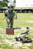 Bomb Squad (Deminage). LAUDUN, FRANCE - MAY 01, 2014: Bomb Squad specialiste and vehicle equipped with a remote-controlled robot, detection and detonation Stock Images