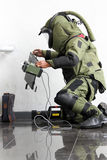 Bomb squad. Member of bomb squad assigned to defuse explosive devices in simulated security in the East Parking Senayan, Jakarta Stock Images