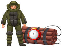 Bomb squad and time bomb Royalty Free Stock Photos