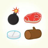 Bomb, steak, pill, log vector icons Royalty Free Stock Images