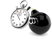 Bomb with stopwatch Stock Image