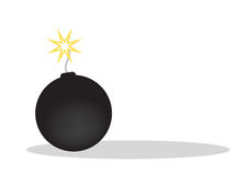 Bomb - vector. Vector illustration black bomb burning isolated on the white background, vector Royalty Free Stock Images