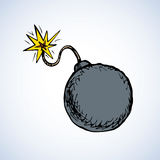Bomb. Vector drawing. Big black sphere sparkle bombshell cord mine lit icon set isolated on white backdrop. Freehand bright color hand drawn picture sign sketch Stock Photo