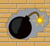 Bomb in wall from brick Royalty Free Stock Images