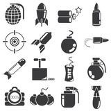Bomb and weapon icons. Set of 16 bomb and weapon icons Royalty Free Stock Images