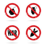 Bomb weapon red sign set illustration Royalty Free Stock Photo