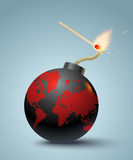 Bomb with World map. Vector illustration of a bomb with World map and match in fire and sparks Stock Photography
