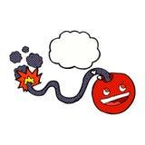 bomba ardente dos desenhos animados com bolha do pensamento Foto de Stock Royalty Free