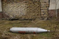 Bomba che risiede nella città di Pripyat. Fotografia Stock