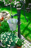 Bomba de água velha decorativa do ferro de molde Fotografia de Stock