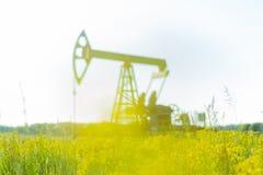 Bomba de óleo ou instalação da bomba em um campo de florescência Problemas da produção ambiental imagens de stock royalty free