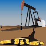 Bomba de aceite negra del oro Fotografía de archivo libre de regalías