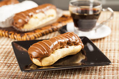 Bomba de chocolate. A Brazilian traditional eclair Stock Photos