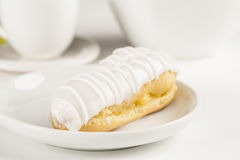 Bomba de chocolate. A Brazilian traditional eclair on a white background Royalty Free Stock Image