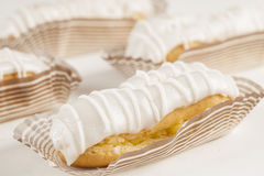Bomba de chocolate. A Brazilian traditional eclair on a white background Royalty Free Stock Images