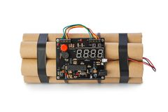 Bomba de la dinamita con el contador de tiempo imagen de archivo libre de regalías