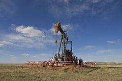 Bomba de la extracción de petróleo en pradera Fotografía de archivo