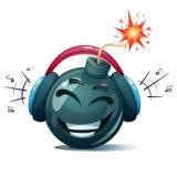 Bomba de la historieta, fusible, mecha, icono de la chispa Smiley de la música stock de ilustración