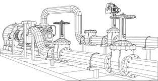 bomba de petróleo e gás do equipamento industrial do Fio-quadro Imagem de Stock