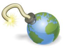 Bomba de relojería en la dimensión de una variable del concepto del globo del mundo Imagen de archivo libre de regalías