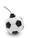 Bomba del balón de fútbol en blanco Imagen de archivo