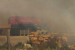 Bomba del motor del agua del bombero que controla Foto de archivo libre de regalías