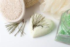 Bomba do banho do eucalipto em um branco Imagens de Stock Royalty Free