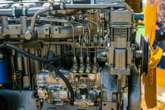 Bomba do metal, motor, peças para a maquinaria agrícola foto de stock